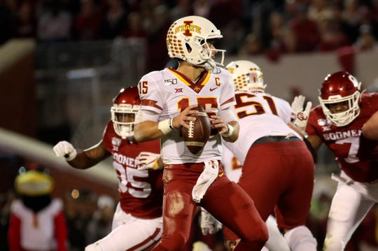 Nov 9, 2019; Norman, OK, USA; Iowa State Cyclones quarterback Brock Purdy (15) looks to throw during the second quarter against the Oklahoma Sooners at Gaylord Family - Oklahoma Memorial Stadium. Mandatory Credit: Kevin Jairaj-USA TODAY Sports