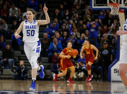 Drake senior forward Sara Rhine reacts after hitting a field goal late in the fourth quarter against Iowa State on Sunday, Nov. 10, 2019, at the Knapp Center in Des Moines.