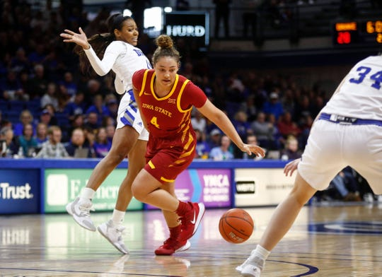 Iowa State junior Rae Johnson spins around Drake sophomore Kierra Collier on Sunday, Nov. 10, 2019, at the Knapp Center in Des Moines.