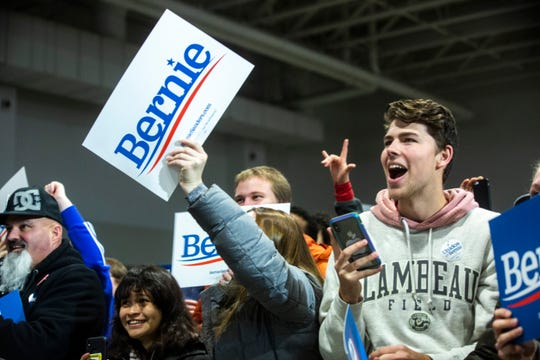 Supporters of Democratic presidential candidate U.S. Sen. Bernie Sanders, I-Vt., cheer during a campaign rally, Saturday, Nov., 9, 2019, at the Coralville Mariott Hotel and Conference Center, in Coralville, Iowa.