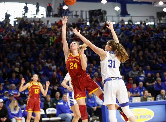 Iowa State sophomore Ashley Joens runs a shot up to the basket against Drake on Sunday, Nov. 10, 2019, at Knapp Center in Des Moines.