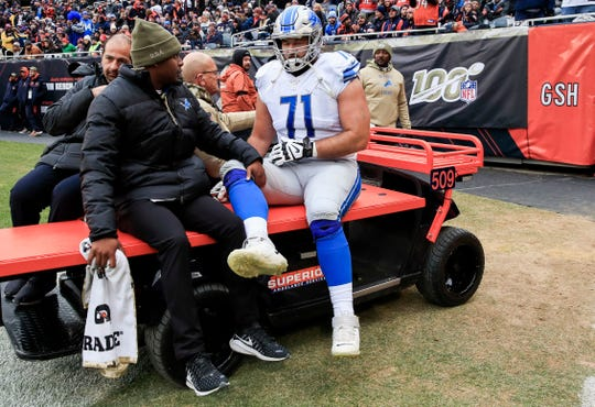 Detroit Lions offensive tackle Rick Wagner is carted off the field after being injured vs. the Chicago Bears at Soldier Field in Chicago, Nov. 10, 2019.