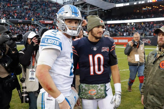 Lions quarterback Jeff Driskel, left, and Bears quarterback Mitchell Trubisky talk after the Lions' 20-13 loss on Sunday, Nov. 10, 2019, in Chicago.
