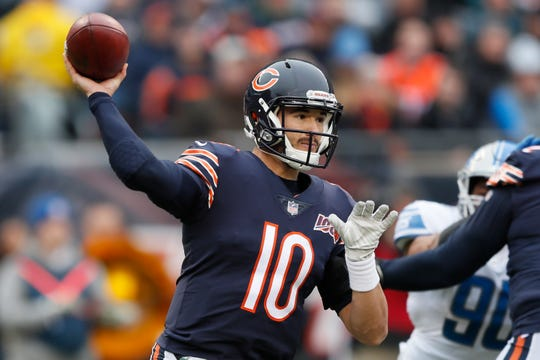 Bears quarterback Mitchell Trubisky throws against the Lions during the first half during the first half on Sunday, Nov. 10, 2019, in Chicago.