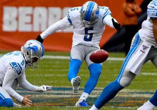 Lions kicker Matt Prater kicks a 54-yard field goal against the Chicago Bears in the first half on Sunday, Nov. 10, 2019, in Chicago.