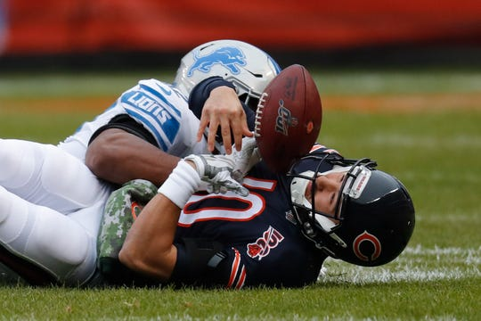 Bears quarterback Mitchell Trubisky loses the ball after being hit by Lions outside linebacker Devon Kennard during the first half on Sunday, Nov. 10, 2019, in Chicago.