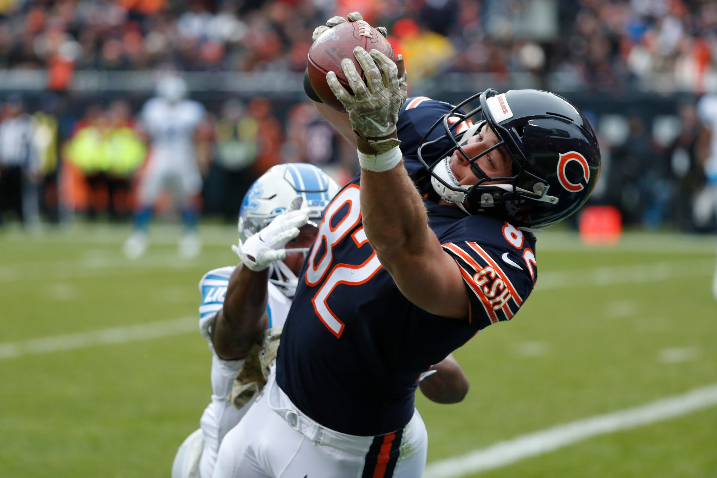 Bears tight end Ben Braunecker catches an 18-yard touchdown pass as Lions cornerback Rashaan Melvin defends during the first half of on Sunday, Nov. 10, 2019, in Chicago.
