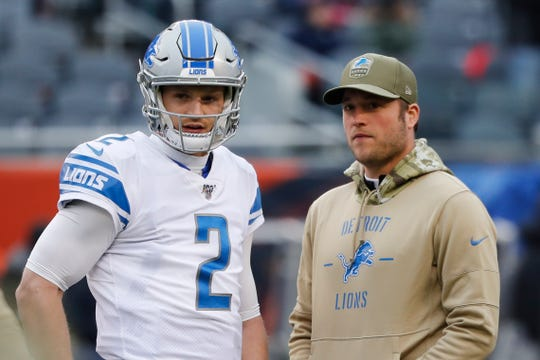 Lions quarterbacks Jeff Driskel and Matthew Stafford during warmups against the Chicago Bears in Chicago, Sunday, Nov. 10, 2019.