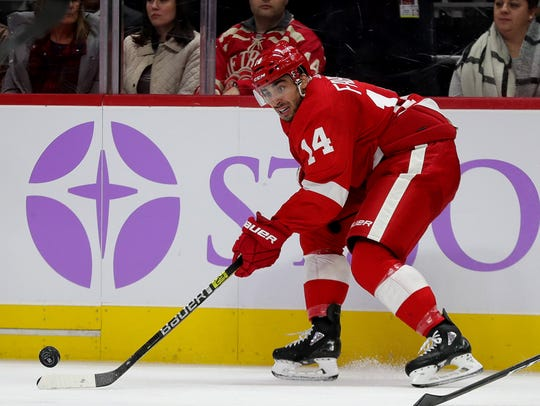 Detroit Red Wings center Robby Fabbri skates against the Boston Bruins during the third period Friday, Nov. 8, 2019 at Little Caesars Arena.