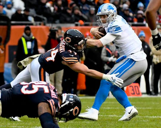 Bears linebacker Nick Kwiatkoski sacks Lions quarterback Jeff Driskel in the second half of the Lions' 20-13 loss on Sunday, Nov. 10, 2019, in Chicago.
