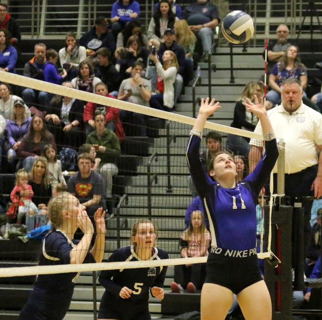 Braelyn Hornick of Candor sets in a 3-2 win over Bainbridge-Guilford in the Section 4 Class D volleyball final Nov. 9, 2019 at Corning-Painted Post High School.
