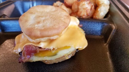 A breakfast biscuit with bacon, egg and cheese at the North Main Annex Gourmet Deli and Catering.