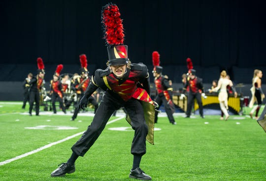 Mater Dei Marching Band freshman Xavier Eigge at the ISSMA State Marching Band Finals at Lucas Oil Stadium in Indianapolis, Ind., Saturday, Nov. 9, 2019. Mater Dei placed tenth in the Class D competition.