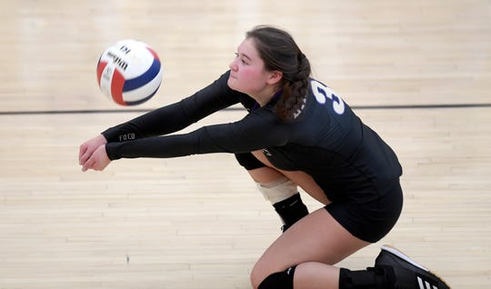 Fort Collins' Sabrina VanDeList (3) bumps the ball in the second set of the match against Pine Creek in the 5A regional volleyball tournament at Fort Collins High School in Fort Collins, Colo. on Saturday, Nov. 9, 2019.