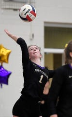 Fort Collins' Riley Dodd (1) serves in the third set of the match against Pine Creek in the 5A regional volleyball tournament at Fort Collins High School in Fort Collins, Colo. on Saturday, Nov. 9, 2019.