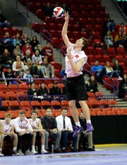 Kimberly's Cooper Polczinski (15) serves the ball during the WIAA Division 1 boys volleyball final against Germantown on Nov. 9, 2019 at the Resch Center in Ashwaubenon, Wis. Kimberly defeated Germantown  25-21, 25-13, 22-25, 25-20.