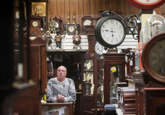 Clocksmith Scott Steel works at Kappel's Clock Shop in Maple Bluff, Wis., on Nov. 1, 2019.
