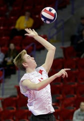 Kimberly's Spencer Herman (11) serves the ball during the WIAA Division 1 boys volleyball final against Germantown on Nov. 9, 2019 at the Resch Center in Ashwaubenon, Wis. Kimberly defeated Germantown  25-21, 25-13, 22-25, 25-20.