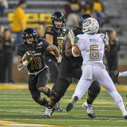 Southern Miss wide receiver De'Michael Harris makes a run against UAB during the second half of their Conference USA game Saturday, Nov. 9, 2019.