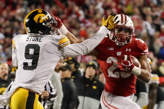 Safety Geno Stone (9) and the Iowa defense are eager to atone for last Saturday's 24-22 loss to Jonathan Taylor and Wisconsin. But that won't be easy against a Minnesota offense that has scored at least 28 points in each game this season.