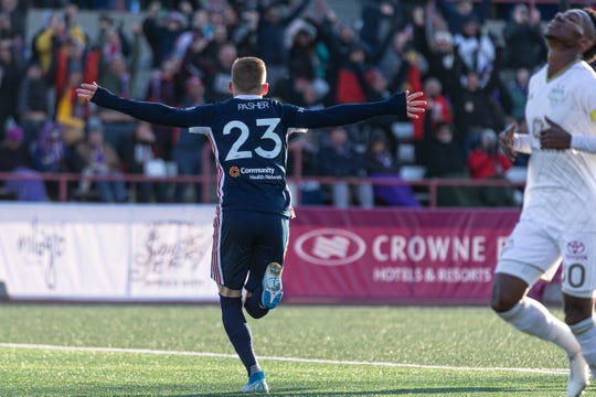 Tyler Pasher opened the scoring in the 67th minute for the Indy Eleven in Saturday's USL Eastern Conference finals.