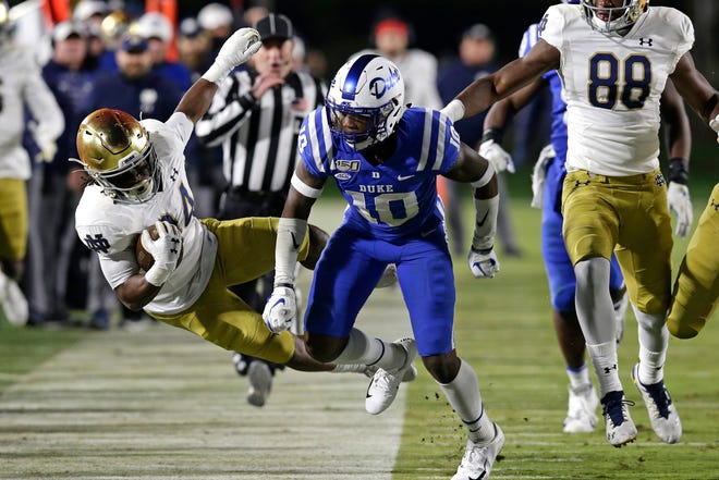 Duke safety Marquis Waters (10) knocks Notre Dame running back Jahmir Smith out of bounds during a 2019 game Blue Devils home game. Waters, Duke's second- or third-leading tackler each of the past three seasons, announced Monday he plans to transfer to Texas Tech.