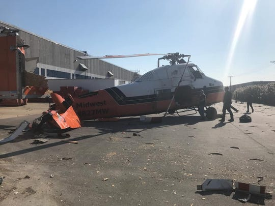 A helicopter crashed Sunday, Nov. 10, 2019, near XPO Logistics in Lebanon.