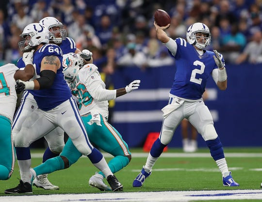 Indianapolis Colts quarterback Brian Hoyer (2) passes during the first quarter of their game against the Miami Dolphins in NFL Week 10 at Lucas Oil Stadium in Indianapolis, Sunday, Nov. 10, 2019.
