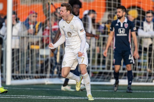 Louisville City FC's Magnus Rasmussen celebrates his game-winner against the Indy Eleven in the USL Eastern Conference finals at Carroll Stadium.