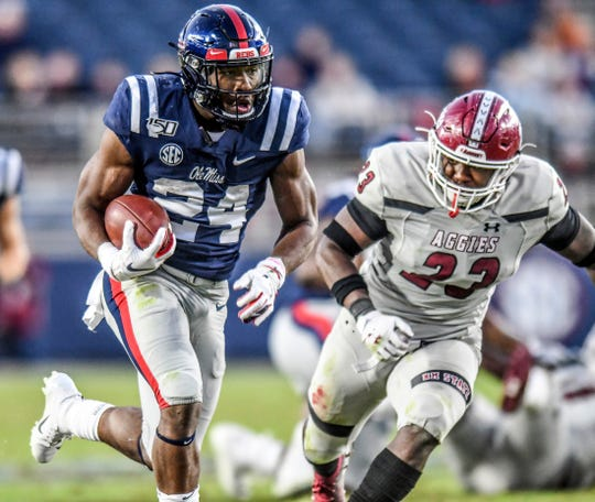 Ole Miss running backs like Snoop Conner (above) have led the offense with chunk plays all year. But will those be available Saturday against LSU's stout defense?