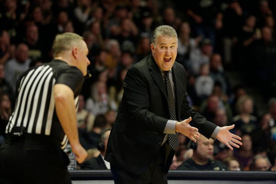 Purdue head coach Matt Painter reacts to a call during the second half of an NCAA Men's basketball game, Saturday, Nov. 9, 2019 at Mackey Arena in West Lafayette.