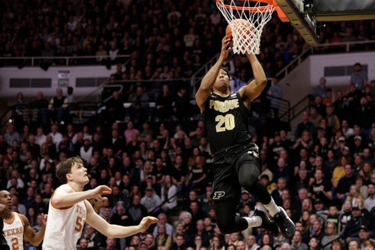 Purdue guard Nojel Eastern (20) goes up for a layup during the first half of an NCAA Men's basketball game, Saturday, Nov. 9, 2019 at Mackey Arena in West Lafayette.
