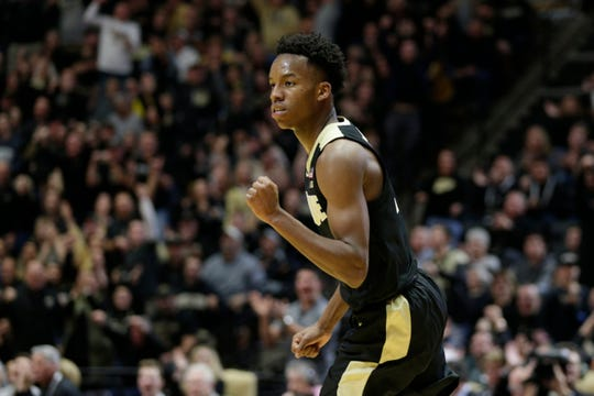 Purdue guard Eric Hunter Jr. (2) reacts after hitting a three during the second half of an NCAA Men's basketball game, Saturday, Nov. 9, 2019 at Mackey Arena in West Lafayette.