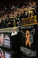 """A """"Andrew Jones is unstoppable"""" sign hangs by the Paint Crew student section for Texas guard Andrew Jones (1) prior to the start of a NCAA Men's basketball game, Saturday, Nov. 9, 2019 at Mackey Arena in West Lafayette."""
