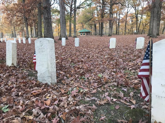 The Soldiers Home Cemetery Chapel, built in 1932 at the Indiana Veterans' Home near West Lafayette, sits in the distance among the 2,950 headstones in the Soldiers Home cemetery. A service group hopes to raise $40,000 to fix leaks and restore the building.