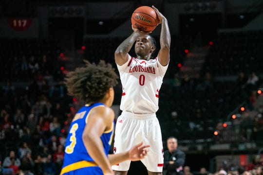 UL's Cedric Russell scored 20 in an 85-80 win over McNeese on Saturday night at the Cajundome.