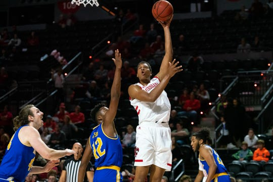 UL's Jalen Johnson puts up a shot in a victory over McNeese earlier this season.