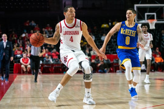 UL's Kobe Julien moves the ball during a win over McNeese earlier this month.