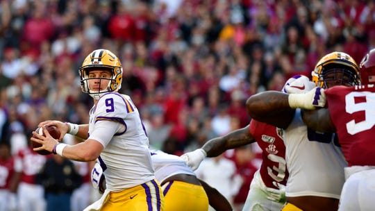 LSU quarterback Joe Burrow (9) throws a pass in the first half of an NCAA football game against Alabama Saturday, Nov. 9, 2019, in Tuscaloosa , Ala. (AP Photo/John Bazemore)