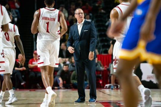 Coach Bob Marlin, shown here during Saturday's win over McNeese, and UL lost Tuesday's road opener at TCU.