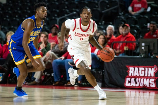 UL's Cedric Russell drives the ball to the goal as the UL Ragin' Cajuns take on the McNeese State Cowboys at the Cajundome on Nov. 9, 2019.