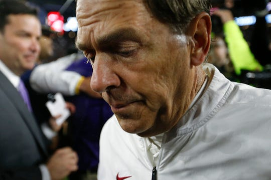 Nov 9, 2019; Tuscaloosa, AL, USA; Alabama Crimson Tide head coach Nick Saban walks away after meeting with LSU Tigers head coach Ed Orgeron after an NCAA college football game at Bryant-Denny Stadium. Mandatory Credit: Butch Dill-USA TODAY Sports