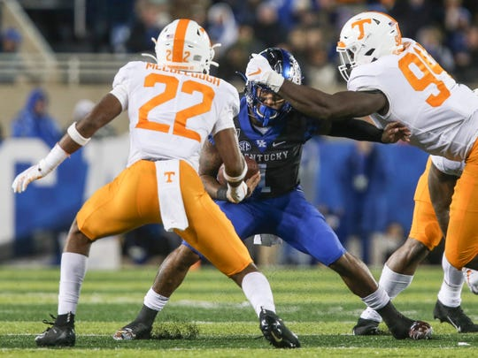 """I'm a soldier, I can take it. … Things like this can make or break a team. I think it's going to make us,"" said Kentucky's Lynn Bowden, Jr. after the loss to Tennessee where the Wildcats had lead for most the game. He was sacked twice and had 114 yards rushing with only 25 yards in passing as quarterback. Nov. 9, 2019"