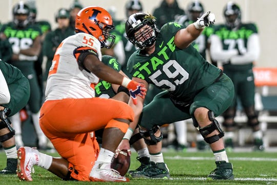 Michigan State's center Nick Samac calls out to teammates before a snap during the third quarter on Saturday, Nov. 9, 2019, at Spartan Stadium in East Lansing.