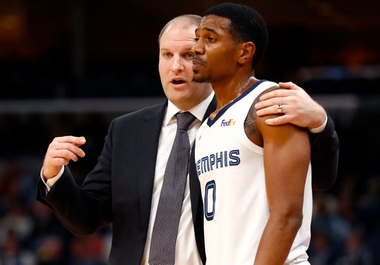 """""""Whether he's pegged as a one or two, only time will tell,"""" Grizzlies coach Taylor Jenkins, left, said of De'Anthony Melton's position.""""But the fact that he's versatile and you're confident in him to go make an impact on both ends of the floor, that's what excites me about him."""""""