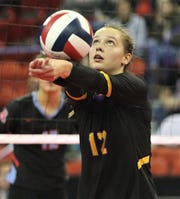 All-Classic 8 setter Tayler Alden of Oconomowoc bumps the ball to a teammate during the WIAA Division 1 state final.