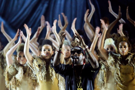 Kanye West performs at the Marcus Amphitheater at Summerfest on June 30, 2011.