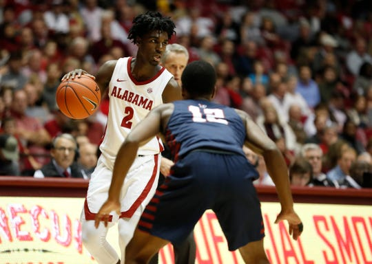 Alabama sophomore guard Kira Lewis Jr. (2) dribbles during a regular-season game against Penn on Nov. 5, 2019 inside Coleman Coliseum in Tuscaloosa.  (Photo by David Gray/Alabama athletics)