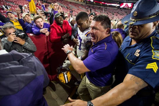 LSU head coach Ed Orgeron walks off the field at Bryant-Denny Stadium in Tuscaloosa, Ala., on Saturday, Nov. 9, 2019. LSU defeated Alabama 46-41.