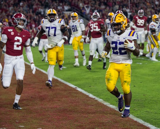 LSU running back Clyde Edwards-Helaire (22) runs the ball into the end zone for a touchdown at Bryant-Denny Stadium in Tuscaloosa, Ala., on Saturday, Nov. 9, 2019. LSU defeated Alabama 46-41.